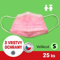 Rouška třívrstvá/obličejová maska s gumičkou dětská růžová GPP 25ks